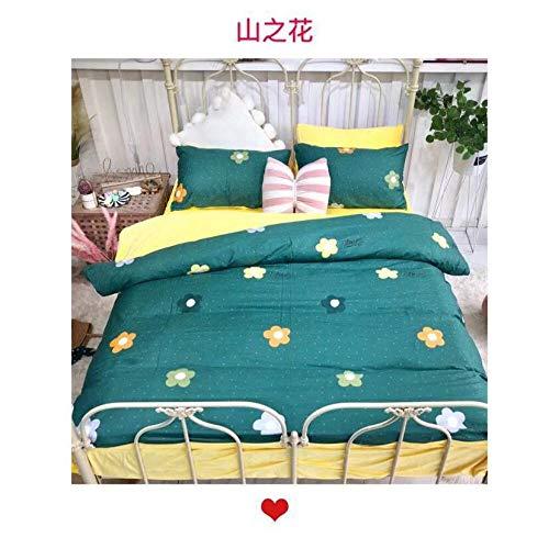 yaonuli Vierteiliges Verdickungsset aus Baumwolle und Samt mit Bergblumenbezug 200 * 230 Blatt 245 * 250 Kissenbezug 48 * 74 * 2