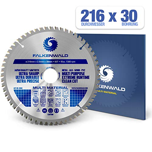FALKENWALD ® Kreissägeblatt 216 x 30 mm - Ideal für Holz, Metall & Alu - Handkreissägeblatt kompatibel mit Kappsäge & Kreissäge von Bosch & Makita - Universal Sägeblatt aus hochwertigem Hartmetall