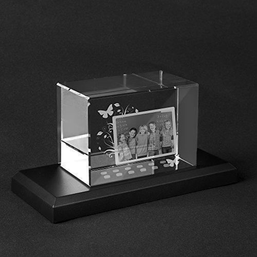 Personello® Glas Foto mit Gravur und Kollage, Foto in Glasblock graviert, Fotogeschenk Größe L=100x70x60mm, Leuchtsockel