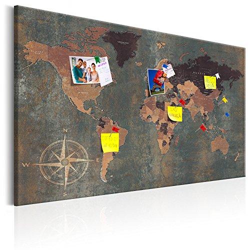 murando - Weltkarte Pinnwand & Vlies Leinwandbild 120x80 cm 1 Teilig Kunstdruck modern Wandbilder XXL Wanddekoration Design Wand Bild - Landkarte Karte Reise Geographie k-A-0057-v-b