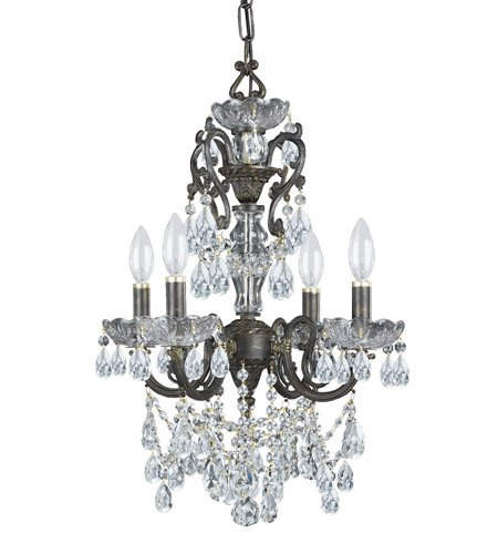 Mini Chandeliers 4 Light with English Bronze Clear Swarovski Strass Crystal Wrought Iron 15 inch 240 Watts - World of Lighting