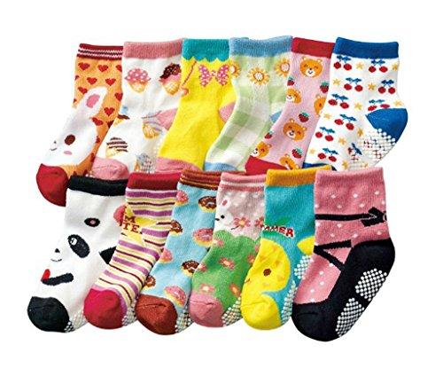 JT-Amigo Baby-Sock-12Pairs-Set3, Calzini Antiscivolo...