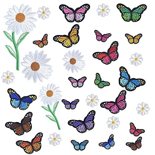 32 Piezas Mariposas Flores Parche Termoadhesivo, Parches Para Planchar Ropa Parches Sticker...