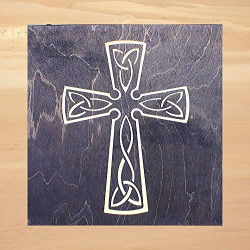 True Stock Studios Celtic Cross 12 x 12-Inch Wood Wall Art, Handmade Sign Irish Decor Scottish Home Decoration, Irish Celtic Cross Sign Decor, Scottish Housewarming Gift