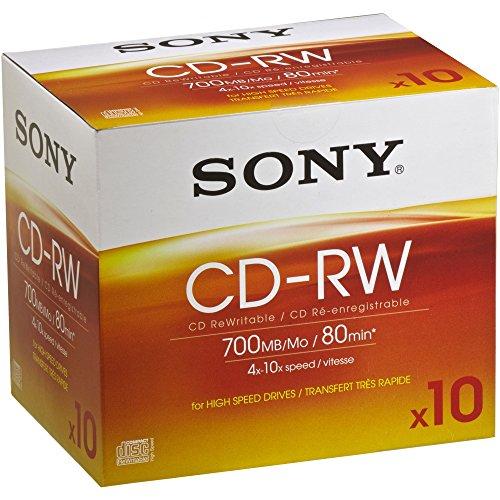 Sony 10CDRW700HSD 700MB CD-RW Rohling, 4x-10x, 80 Minuten Jewel Case (10er Pack)
