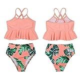 Eledobby Traje de Baño para Mujer y Niña 2 Piezas Conjuntos de Bikinis a Juego con la Familia Tankinis de Cintura Alta Volantes Padres e Hijos Ropa de Playa de Verano para Nadar Naranja 8-10 Años