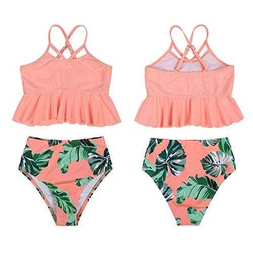 Eledobby Traje de Baño para Mujer y Niña 2 Piezas Conjuntos de Bikinis a Juego con la Familia Tankinis de Cintura Alta Volantes Padres e Hijos Ropa de Playa de Verano para Nadar Naranja 6-8 Años