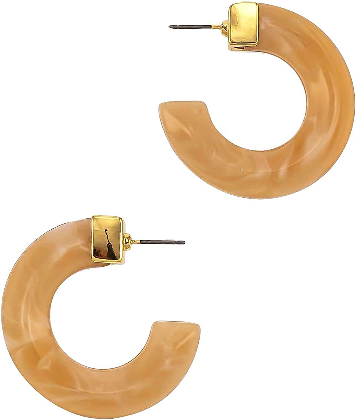 Bay Studio C-Cuff Acrylic Post Back Earrings One Size Natural