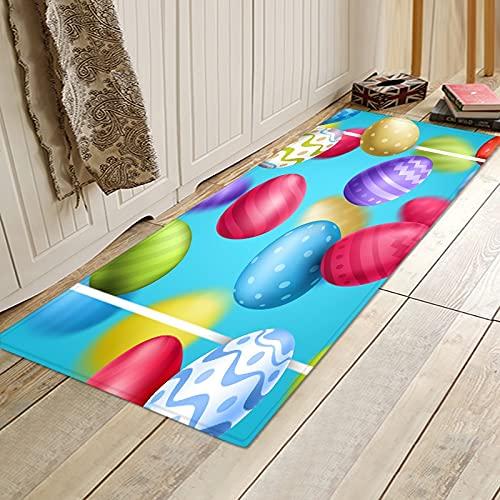 OPLJ Alfombra de la Puerta de Entrada de la Sala de Estar de la decoración del hogar, Alfombra Impresa en 3D de Pascua, Alfombra Antideslizante de Cocina y baño A2 50x160cm