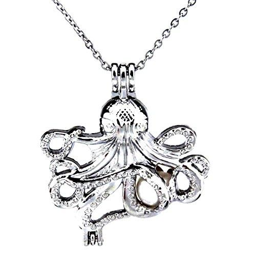 Octopus Pearl Cage - Silver Ocean Octopus Locket Pendant Necklace