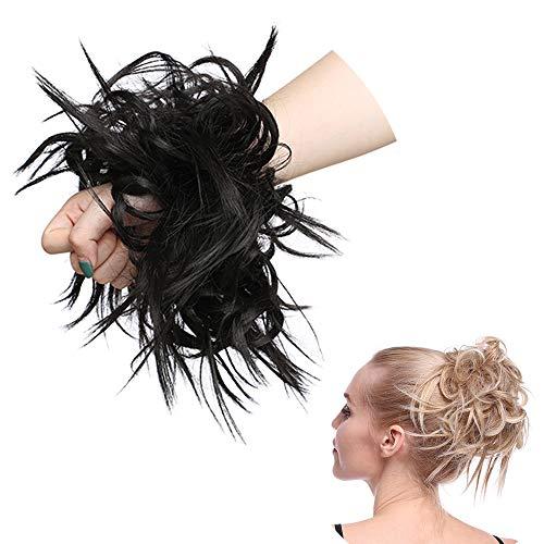 SEGO Haarteil Haargummi lockig Hochsteckfrisur Haarknoten Haarband Haar Extension natürlich 45G Dunkelbraun #4A