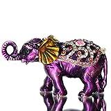 Waltz&F Purple elephant Hinged Trinket Box Bejeweled Hand-painted Ring Holder Animal Figurine Collectible