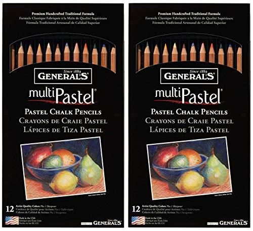 2-Pack - General Pencil 4400-12A General's Pastel Chalk Pencils, 12 colors per pack