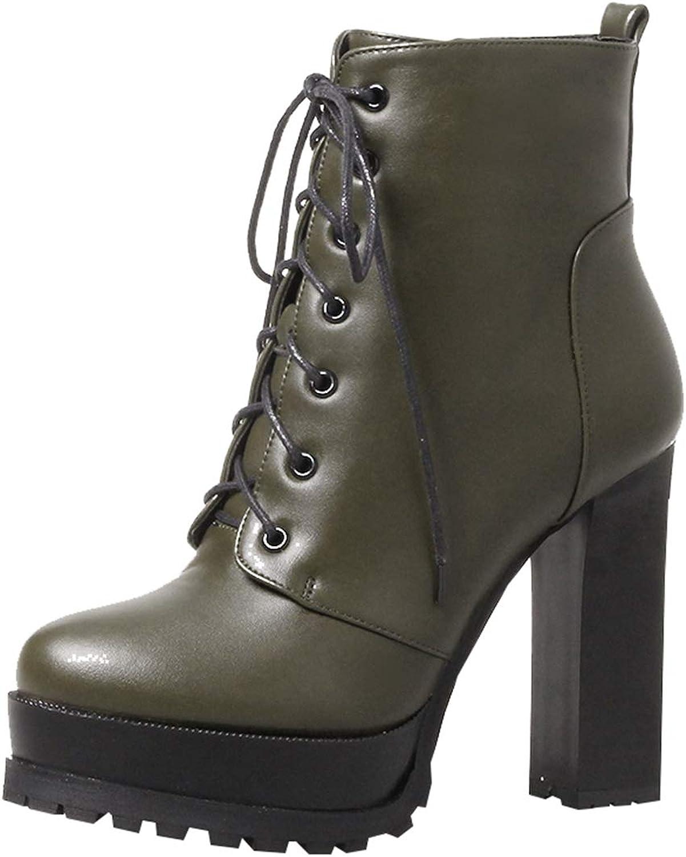 Artfaerie Womens Lace Up High Heel Ankle Boots Platform Block Heel Booties Fur Winter Warm shoes