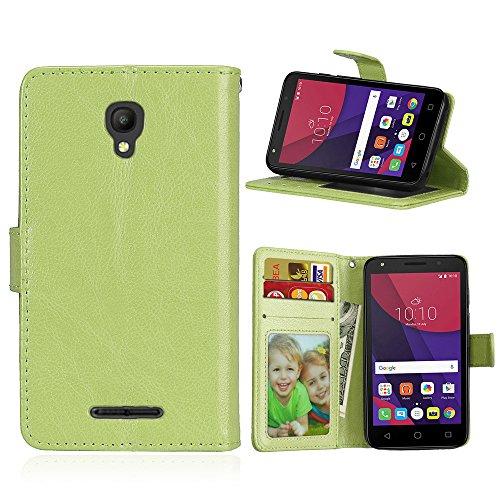 SATURCASE Alcatel One Touch Pixi First Hülle, Glatt PU Lederhülle Magnetverschluss Flip Brieftasche Schutzhülle Handy Tasche Hülle mit Standfunktion für Alcatel One Touch Pixi First 4.0