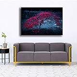 キャンバスポスター家の装飾1ピースピンクの孤独な木暗い自然絵画リビングルームプリント写真壁アートフレーム モダン インテリア-40x50cm