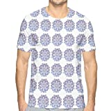 Mens 3D Printed T Shirts,Hand Drawn Style Watercolor Flowers Frame Nature Inspired Hippie Design XXL