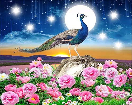 HDDNZH muurschildering, op maat 3D groot muurbehang droom sterrenhemel vogel pauw rijke bloem open tv bank achtergrond muur woonkamer slaapkamer huisdecoratie 300cm(H)×500cm(W)