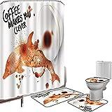 Duschvorhang Set Badezimmerzubehör Teppich Kaffee Kunst Badematte Contour Teppich Teppichbezug Erhalten Sie intelligentes seien Sie kluges Getränk-Kaffee-Inspirations-Espresso-Cappuccino,gebrannte Sie