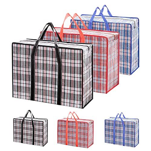JOLIGAEA Pack de 6 Bolsas de Compras Large Storage Laundry, Extra Large Cajas Almacenaje, Bolsas Mudanza Grandes con Cremallera y Asas, Bolsas Almacenamiento Ropa Gran Capacidad Bolsas