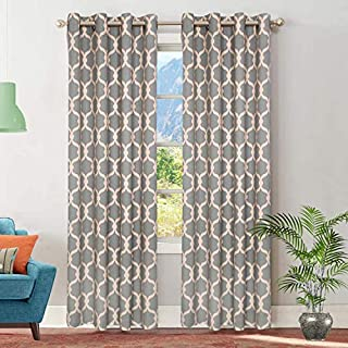 Ruvanti Window Curtains for Living Room Damask Print Linen Curtains for Bed Room. Window Panels/Drapes for Bedroom, Living Room, Window Patio Door Charcoal Grey (2 Panels,50 in W X 63 in L)