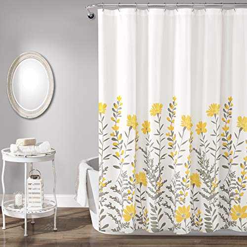 "Lush Decor, Yellow and Gray Aprile Shower Curtain, 72"" x 72"""