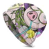 Hdadwy Belle Rose Cochon Tricot Bonnets pour Hommes Hommes Tricot Chapeau Doux crâne Casquette Femmes Tricot Chapeau 3D imprimé Adulte Comfortbale Doux
