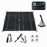 SNOWINSPRING Kit de Panel Solar de 200 Vatios, Controlador de Carga de BateríA de 12 Voltios para Caravana, Barco, con Controlador de 100 A