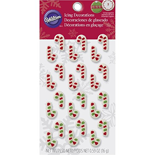 Wilton Mini Candy Cane Edible Cupcake Toppers, red, green