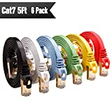 Ethernet Cable Cat 7 5ft 6 Pack (Highest Speed Cable) Cat7 Flat Shielded