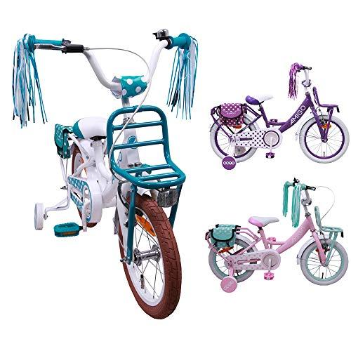 AMIGO Dots - kinderfiets - 12 inch - meisjes - met zijwieltjes en terugtraprem - vanaf 3 jaar - Wit