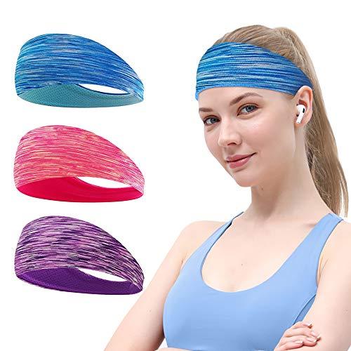 Sport Stirnbänder, 3 Stück Fitness Stirnbänder für Damen und Herren, Anti Rutsch Elastische Wicking Haarband Set für Laufen, Atmungsakti Sport Kopftuch für Radfahren Yoga, Orange Lila Blau
