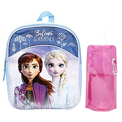 Disney Frozen Backpack Combo Set - Frozen 2 Anna & Elsa 3 Piece Mini Backpack Set - Backpack, Water Bottle and Carabina (Anna and Elsa Mini)