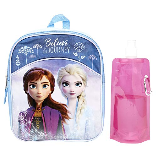Disney Frozen Backpack Combo Set - Frozen 2 Anna & Elsa 3 Piece Mini Backpack Set - Backpack, Water Bottle and Carabina (Anna and Elsa Mini)