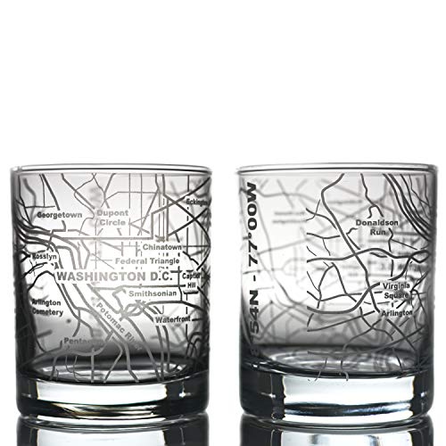 Greenline Goods Whiskey Glasses - 10 Oz Tumbler Gift Set for Washington, DC lovers, Etched with Washington, DC Map   Old Fashioned Rocks Glass - Set of 2