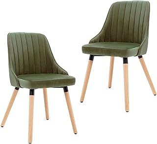 vidaXL 2X Sillas de Comedor Asiento Mobiliario Muebles de Salón Sala de Estar Cocina Escritorio Hogar Suave Cómodo Respaldo de Terciopelo Verde Claro