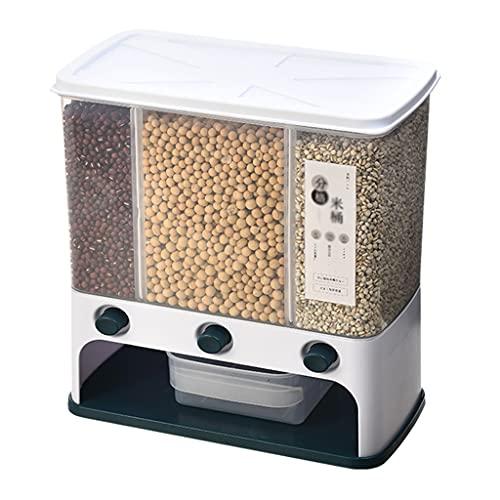 オートミールライスバケツ家庭用密封昆虫と防湿キッチンライス収納ボックス全小麦穀物収納ディスペンサー grey