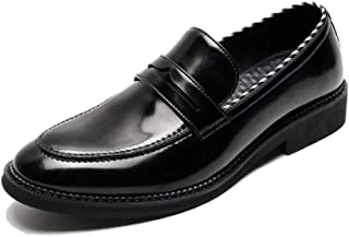 Bin Zhang Dress Oxford for Men Stitched Loafers Slip on Microfiber Leather Rubber Sole Block Heel Solid Color Round Toe Anti-Slip Stripes (Color : Black, Size : 6 UK)