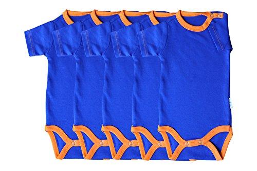 Princess Taufkleid Kurzarm-Babybodys 5er Pack blau/orange Grösse 56 Unisex 100% Baumwolle