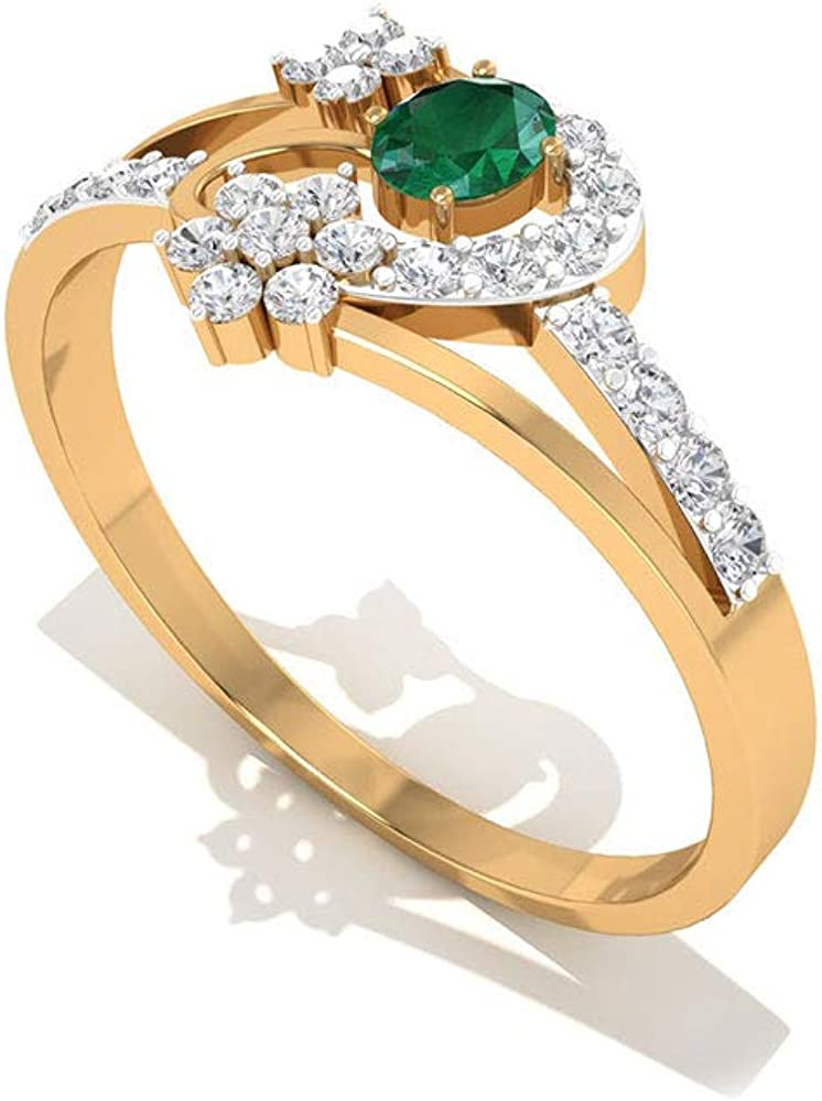Vintage 0.39 Carat Emerald IGI Certified Diamond Engagement Ring, Unique Green May Birthstone Wedding Ring, Mother Day Gemstone Flower Ring Gifts Idea