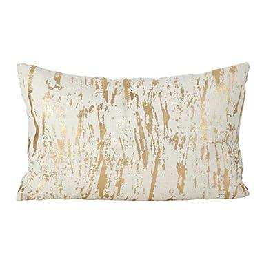 SARO LIFESTYLE Distressed Metallic Foil Design Cotton Down Filled Throw Pillow, 14  x 22 , Gold