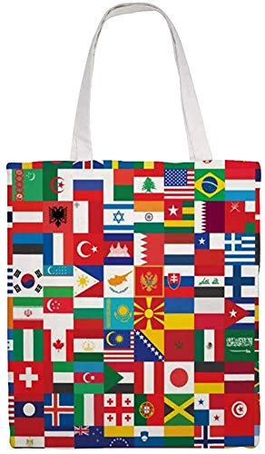MODORSAN Bandera Iconos Bolso de hombro Bolso de mano de lona, Bolsos de tela reutilizables para compras de comestibles, Bolsos de mano con impresión de doble cara