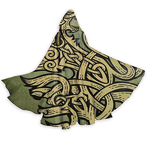 Celtic Ritual Norse Adult Cool Cloak Halloween Costume Robe For Unisex Men Women Party Festival Hooded Cape