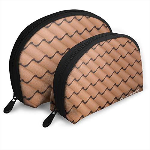 Schließen Sie oben von den roten Dachplatten im diagonalen Muster Tragbare Shell Make-up Tasche Clutch Reise Aufbewahrungstasche Geldbörse