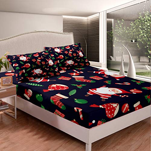 Feelyou Christmas Bed Sheet Set Santa Claus Gift Bed Sheets for Kids Boys Girls Xmas Decor Bedding Set Festival Holiday Fitted Sheet Bedroom Collection 3Pcs Queen Size