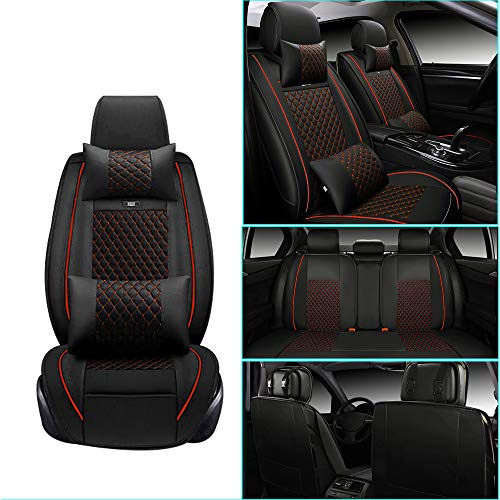 Car Seat Cover for Toyota RAV4 2019 2020 Front+Rear Seats Protector Covers Waterproof Soft PU Leather Cushion 5-Seater Car Pad Rhombus Red 9PCS
