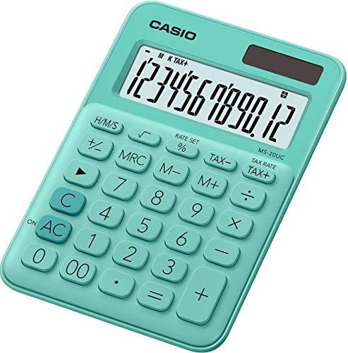 CASIO Tischrechner MS-20UC-GN, 12-stellig, in Trendfarben, Steuerberechnung, Zeitumrechnung, Solar-/Batteriebetrieb, Grün