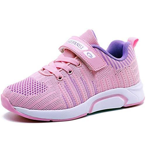 Deportivas Zapatos de Running Niña 34 Zapatillas de Niños Zapatillas de Correr Niñas Ligeras Zapatos de Walking Niño Transpirable Sneakers Baloncesto Zapatillas y Calzado Deportivo Rosa Pink