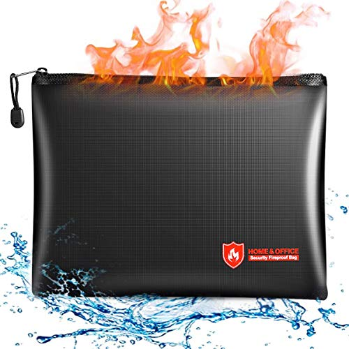 Fireproof Document Bags, 14x10 Inches Waterproof Money Bag, Fireproof Safe Storage Pouch with Zipper for A4 Document Holder, File, Cash and Tablet
