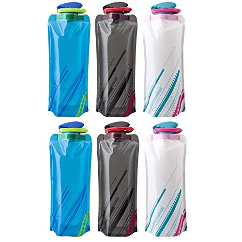 BESTZY 700ML Faltbare Wasserflaschen 6er-Set Trinkflasche Trinkrucksäcke, Flexible zusammenklappbare Wiederverwendbare Wasser Gewicht Tasche für Wandern,Abenteuer,Reisen
